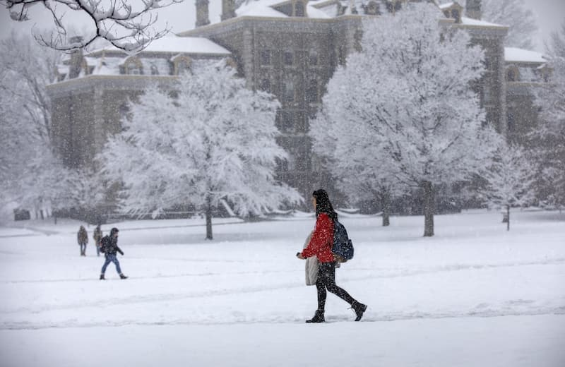 Winter scene in front of McGraw Hall