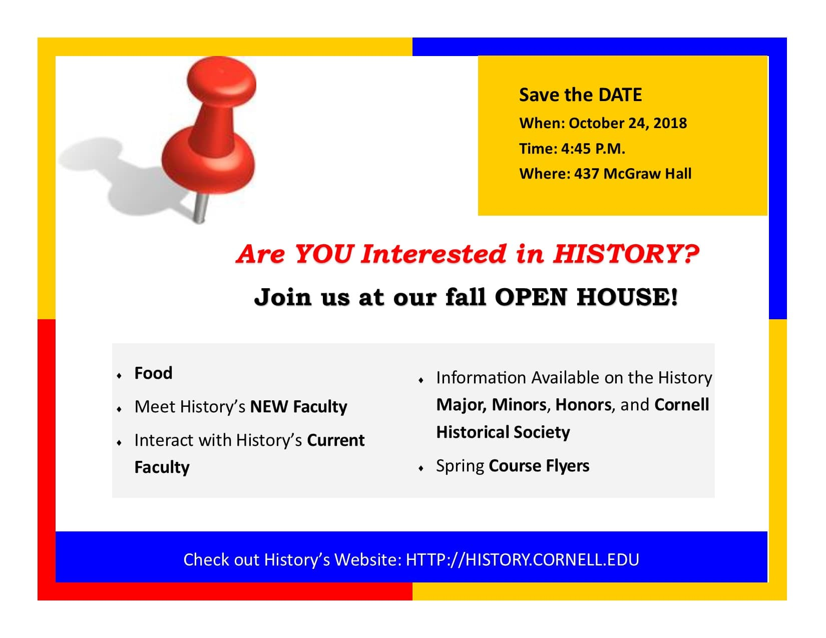 History's Open House scheduled for October 24 at 4:45 in 437 McGraw Hall